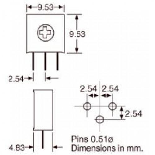 Trimpot 3386H 10K Ohms (10K/103) 1 Volta
