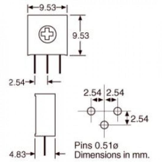 Trimpot 3386H 20K Ohms (20K/203) 1 Volta