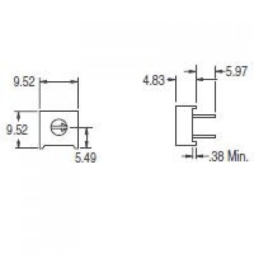 Trimpot 3386F 2K Ohms (2K/202) 1 Volta